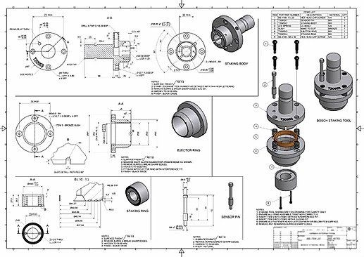 2D Design Services by CAD FM - the component drawings of a mechanical assembly are shown