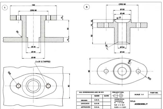 This is a 2D CAD drawing of a flange with dimensions, black on white paper