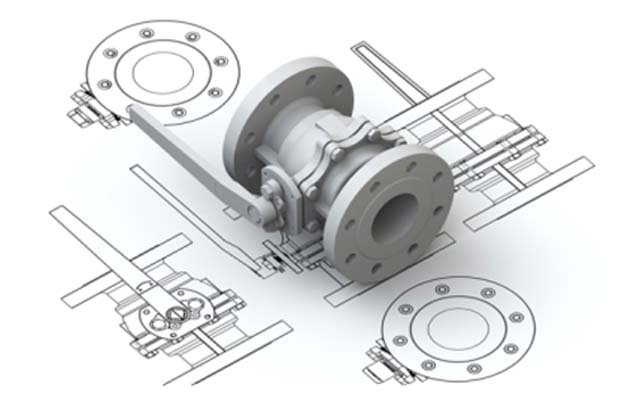 A 2D drawing of valve and 3D CAD model on top depicting 2D to 3D Conversion