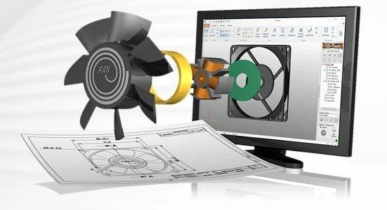 A 3D CAD Model of a fan coming out of computer screen representing CAD to become reality