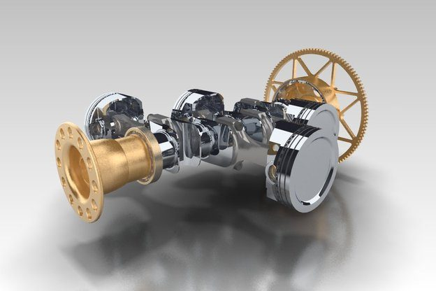 3D CAD Services - A 3D Model with golden and chrome colours