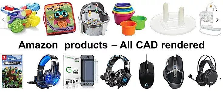Amazon products CAD rendering - Bag, headphone, mouse cups and mobile covers