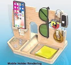 CAD Rendering of Mobile Holder - Plywood photorealistic rendering by CAD FM with glasses, key holder and mobile