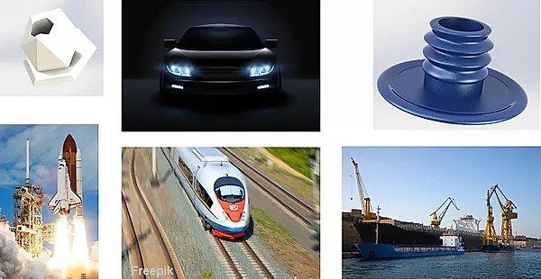Product Design - A white & Blue Penholders, Train, car and rocket.