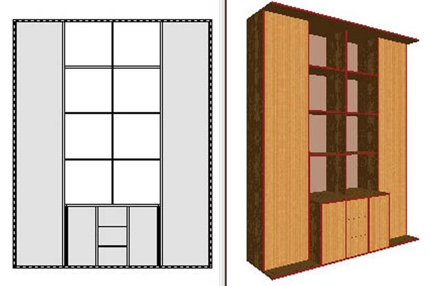Furniture Design - A 3D model of a wardrobe with 2D boundaries