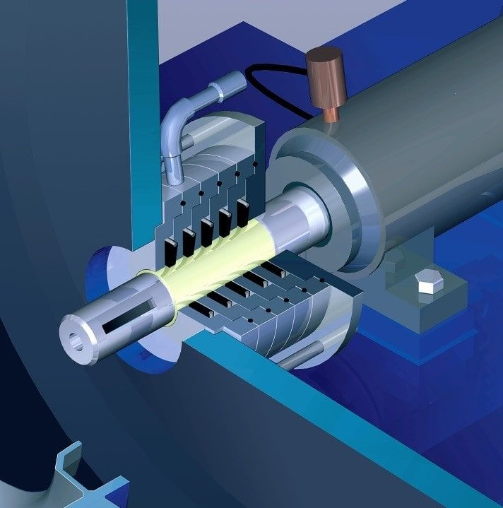3D CAD Modelling Services depicted by a motor and its parts - dominant colour is blue