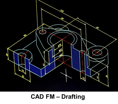 CAD FM 3D Drawing Sample - Black background with blue hatch lines and yellow dimension lines