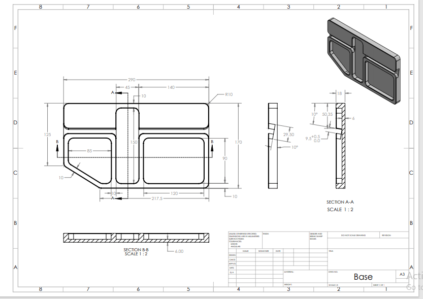 2D Design Drawings of a Mobile holder base showing off CAD FM Services