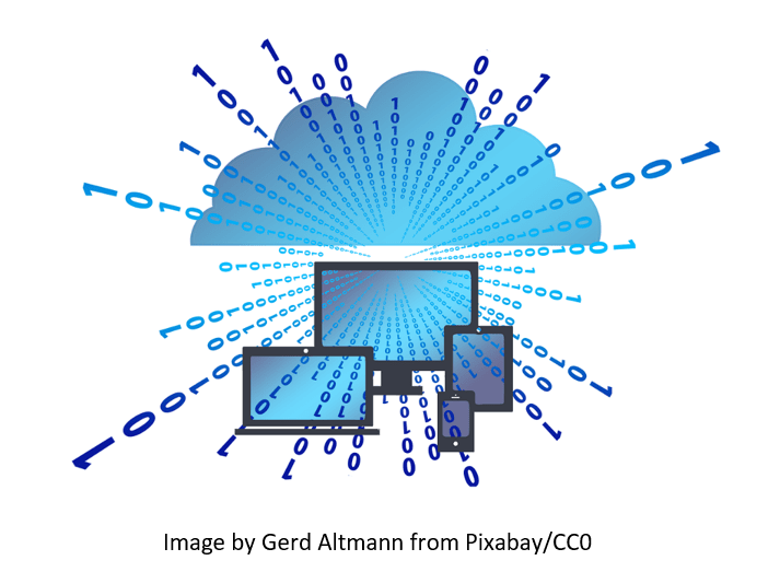 CAD on Cloud represented by blue cloud raining electric codes on gadgets