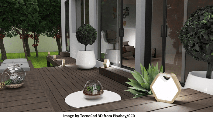 Excellent Rendering of a Garden with home and decking