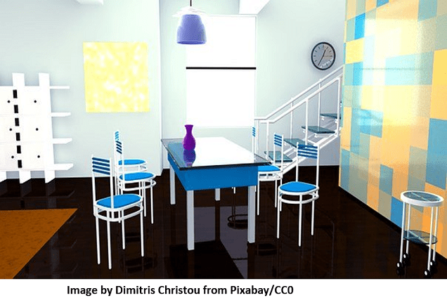 Interior design of a home with blue dining table and chairs