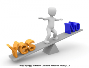 CAD Software selection decision making depicted by a man on see saw with yes on one side and no on the other