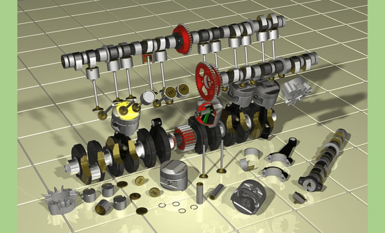 Engine Explode assembly with all components spreading apart