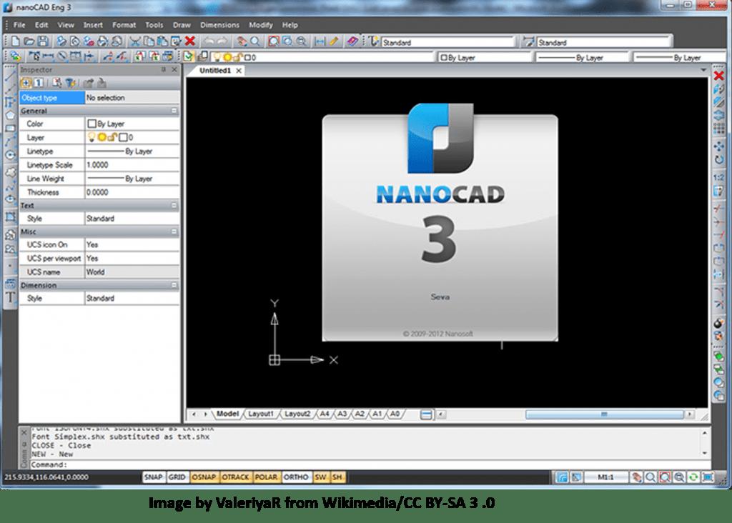 NanoCAD Free CAD Software GUI with Parametric Control Box
