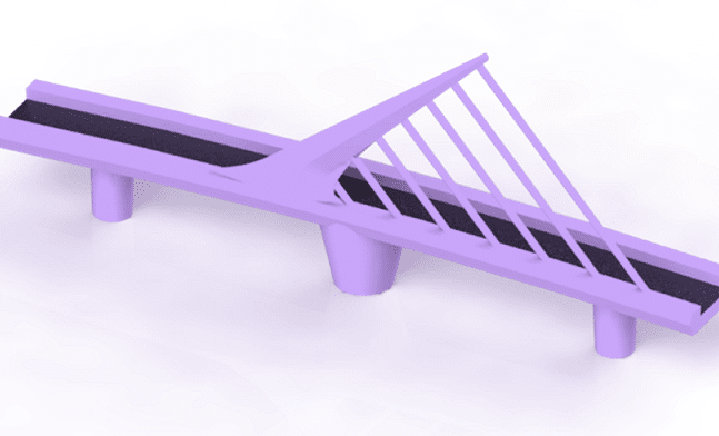 Rendering of Woman Bridge Purple colour and Isometric view