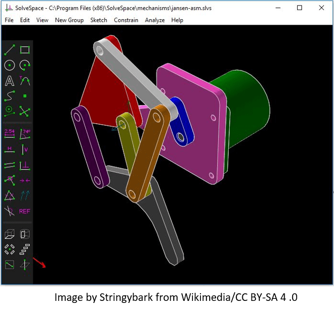 Solvespace CAD Software GUI with an Assembly of CAD Models by Stringybark