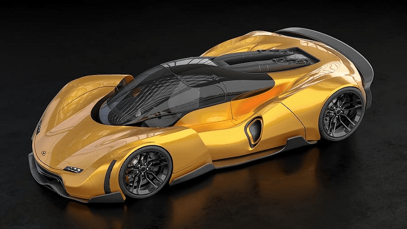 Sports Car Rendering - A yellow car with transparent spaceship-type roof