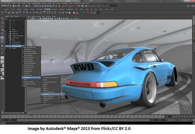MAYA Software GUI and a 3D model - Blue Sports Car
