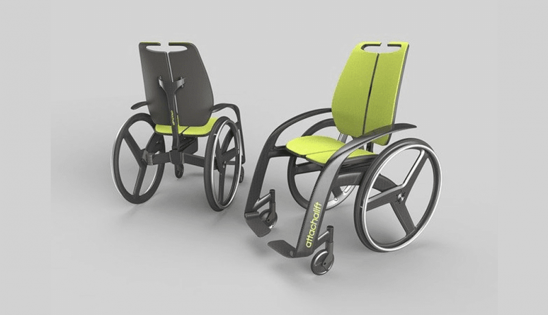 Wheel chair with yellow inside and light weight design