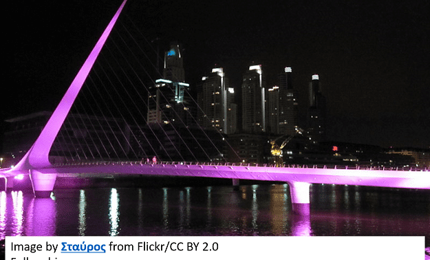 Night view of woman bridge with purple lights