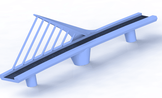 Woman Bridge Isometric view with blue shaded structure