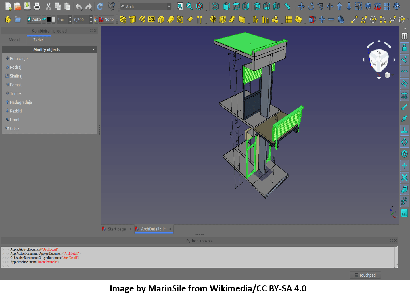 FREECAD Free Software with GUI and Assembly modelled