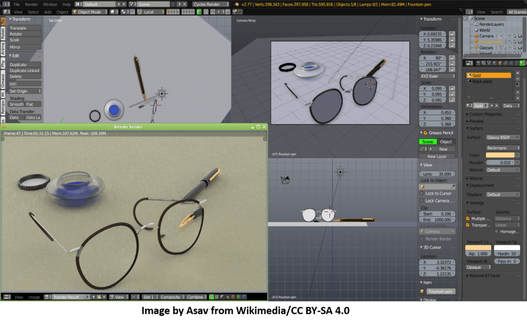 Blender Free CAD Software Display - Four sub-windows opened in one main window - Glass frame