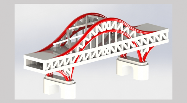Isometric rendering of Chaotianmen Bridge with white structure and guy wires