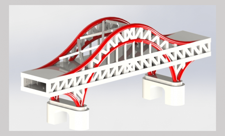 3D CAD Rendering of Chaotianmen Bridge with red metal arc and white bridge body