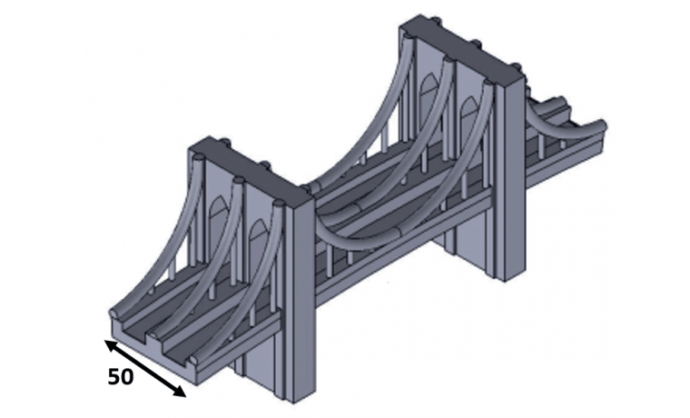 3D Isometric view of Brooklyn bridge showing 50 mm width for 3D printing