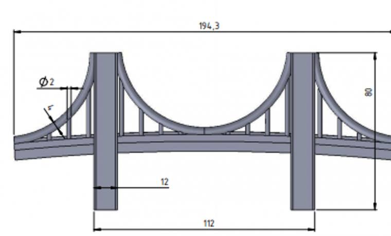 Front view of Brooklyn bridge showing all dimensions for 3D printing