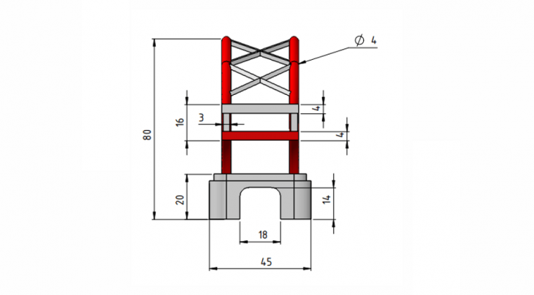 Dimensions from the side view showing maximum of 45 mm width and 80mm height