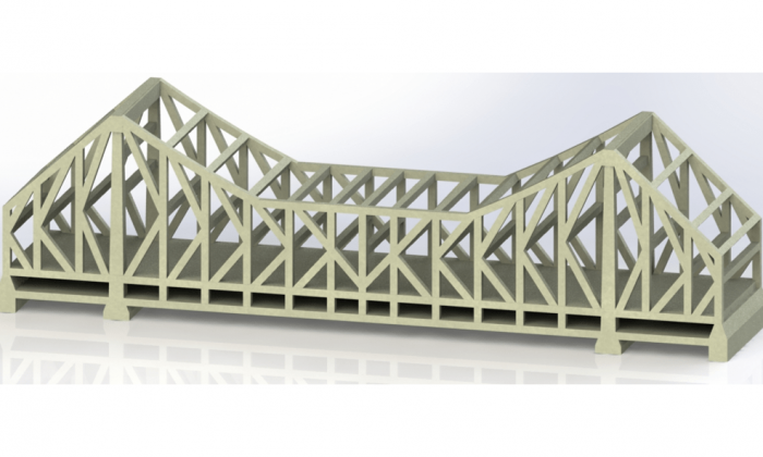 Howrah Bridge India 3D CAD rendering in trimetric view with grey colour
