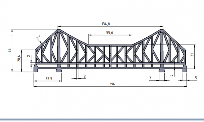 2d side view of Howrah bridge with 3D model dimensions with maximum length of 196mm