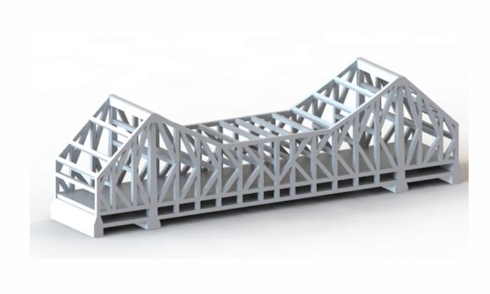 Howrah Bridge India Rendering 3D Isometric view white bridge with reflective ground