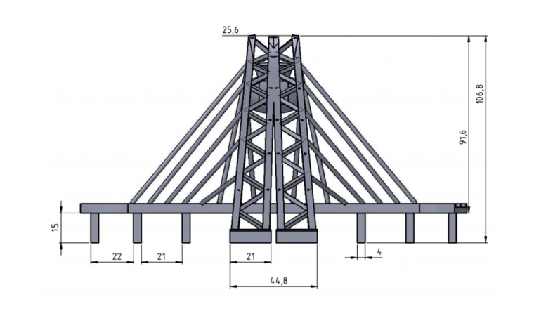 Zhivopinsy Bridge 2D drafting side view with maximum vertical height of 107mm