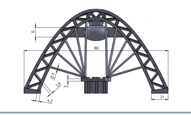 Zhivopinsy Bridge 2D Drawing Front view with maximum horizontal length of 182 mm