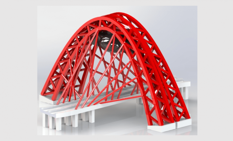Zhivopisny-Bridge-3D-CAD-Rendering-Isometric-View the red colour of the arc beam is looking extremely beautiful