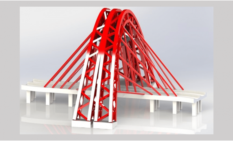 Zhivopisny-Bridge-3D-CAD-Rendering-Trimetric-View with road represented by white colour and reflective flooring